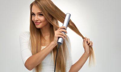 girl with hair straightener