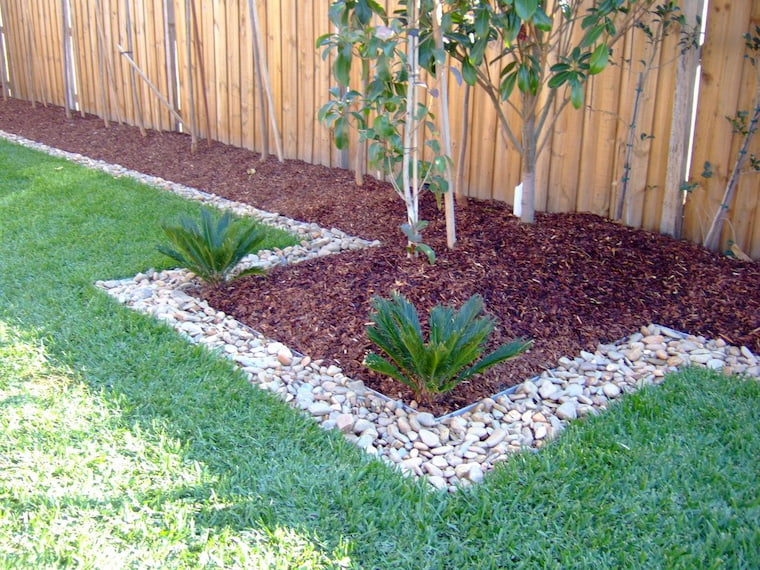 wood chips in garden with green grass and tree