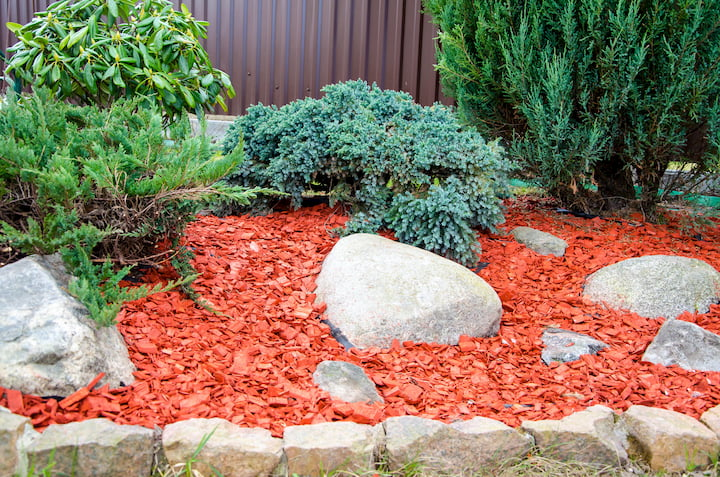 wood chips in garden