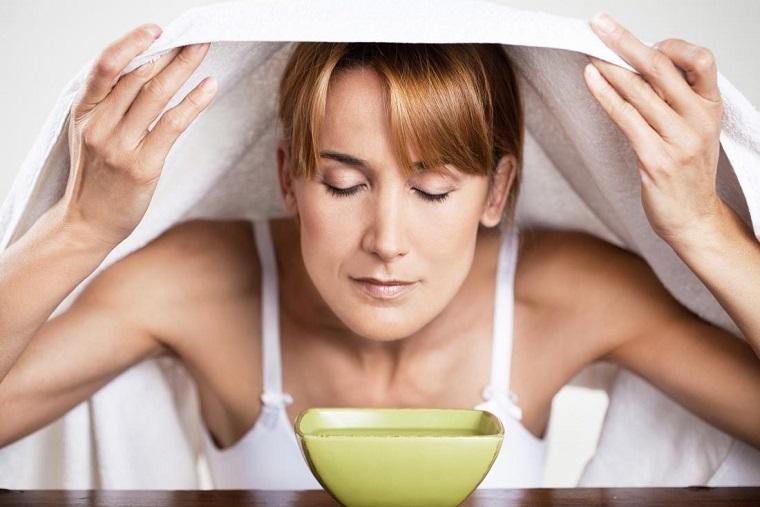 steam inhaling essential oils