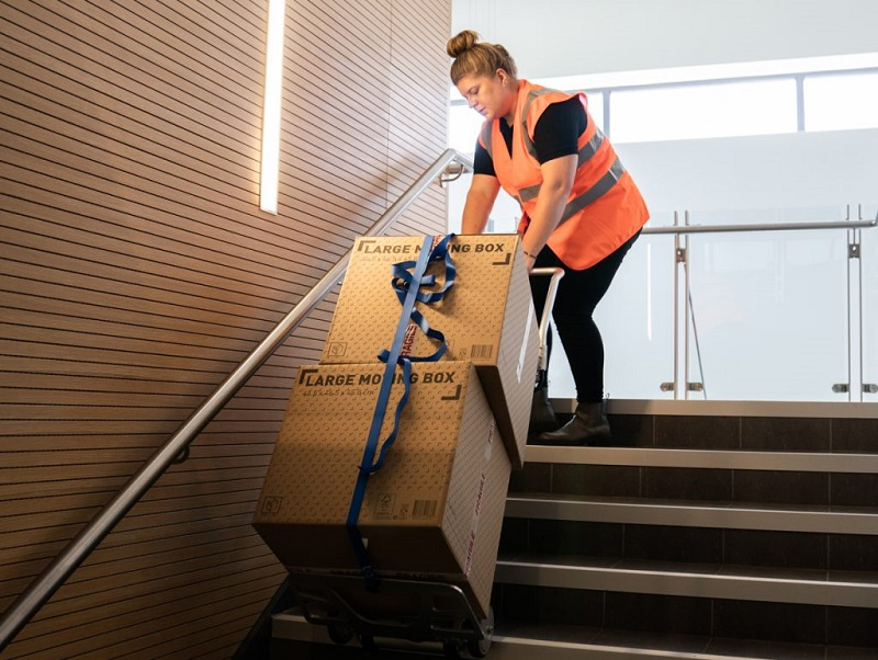 working with hand truck