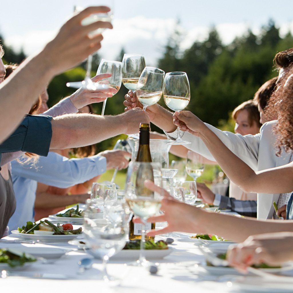 chardonnay white wine people celebrating