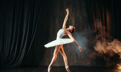 Ballerina in white tutu dress