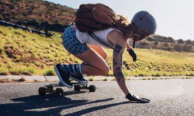 girl riding an electric skateboard