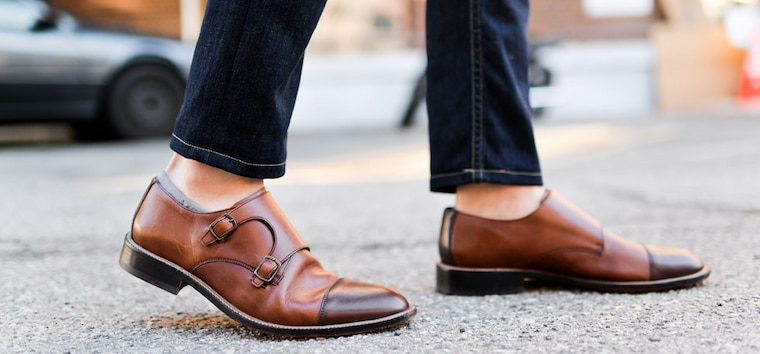 leather shoes on jeans
