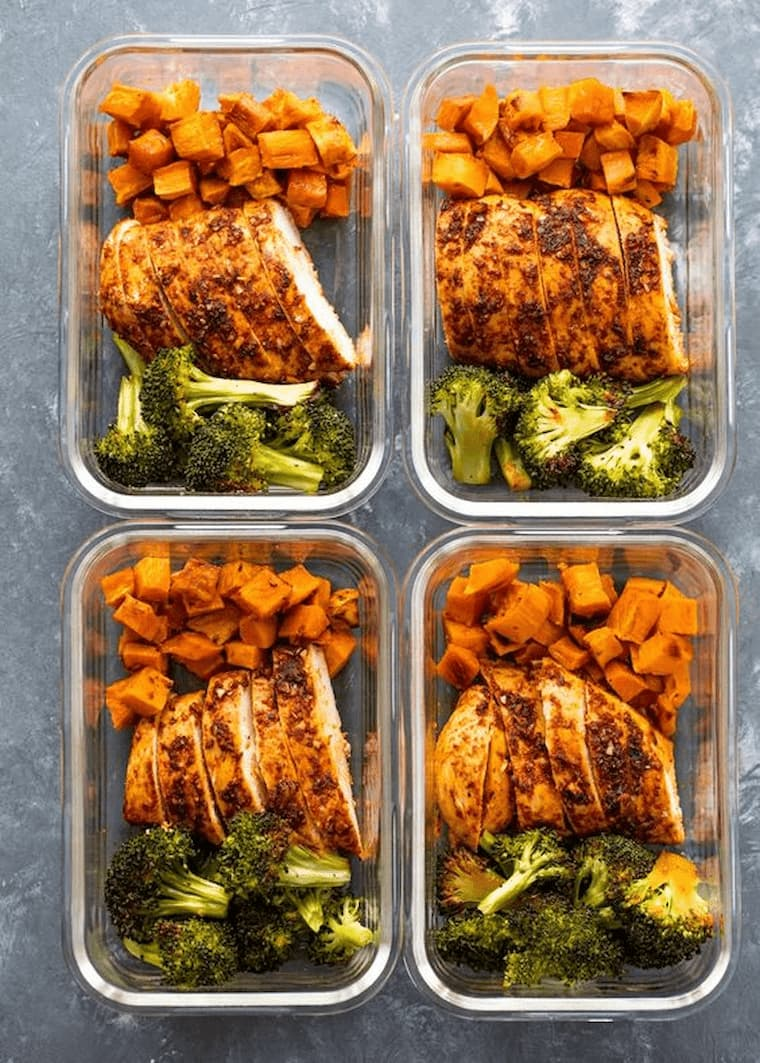 meal prep with meat sweet potato and broccoli stored in flass containers