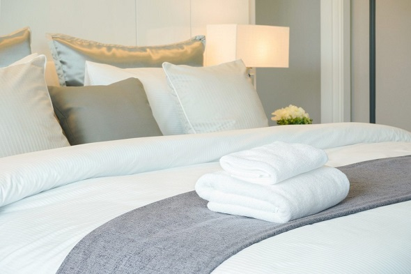 white fresh new bedding