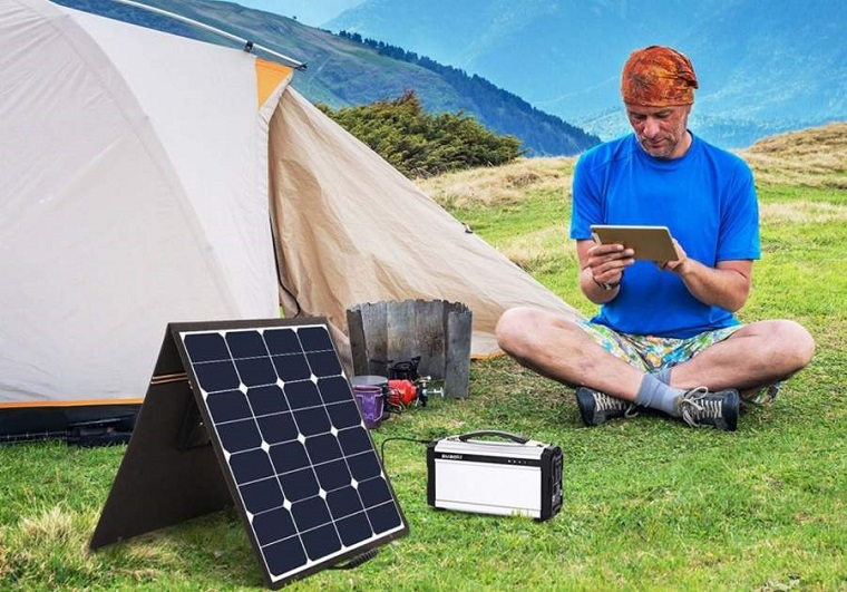 camping solar-powered panel used for camping