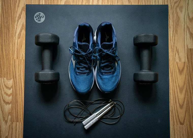 close up of gym supplies for working out at home