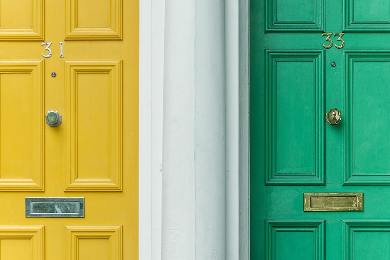 yellow and green door side by side