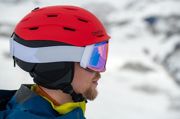 Man wearing snowboard helmet